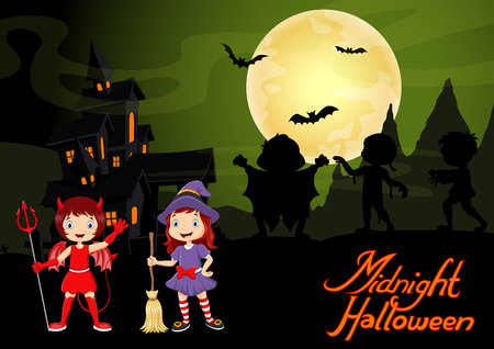 Cute child in a devil and witch costume. Halloween night background with haunted house and full moon Ilustrace