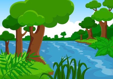 Ilustración de vector de un bosque con un río