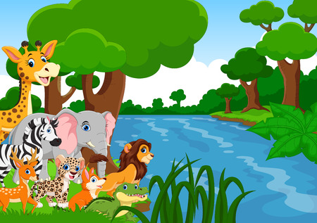 Vector illustration of wild animals in the forest Ilustrace
