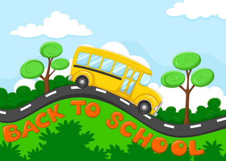 Back to school. Illustration of school bus cartoon on the road Ilustrace