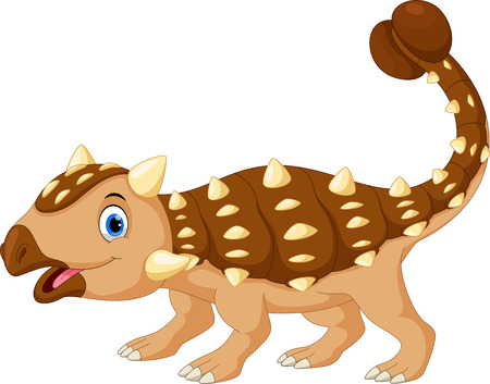 Cartoon cute ankylosaurus isolated on white background