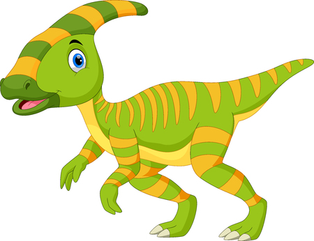 Cute Parasaurolophus dinosaur cartoon 向量圖像