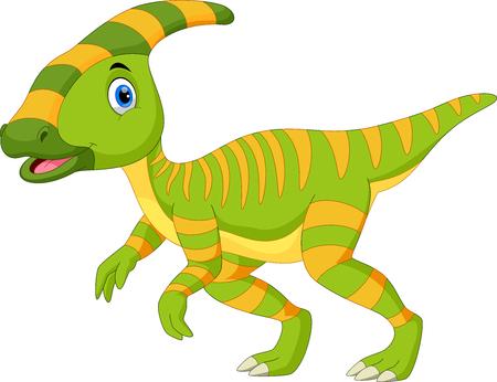 Simpatico cartone animato di dinosauro Parasaurolophus Vettoriali