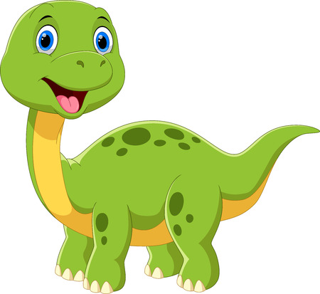 Cute baby brontosaurus cartoon