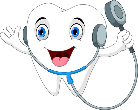 Tooth with stethoscope cartoon Ilustrace