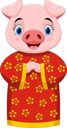 Chinese New Year 2019. Cute pig cartoon with traditional costume