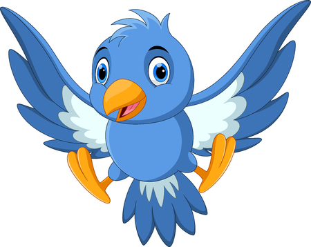 Vector illustration of cute blue bird cartoon Ilustrace