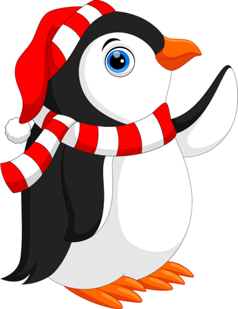 Vector illustration of Cute cartoon penguin with scarf and Santa hat isolated on white background