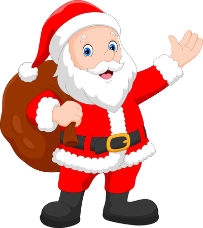 Cute Santa Claus carrying big bag isolated on white background