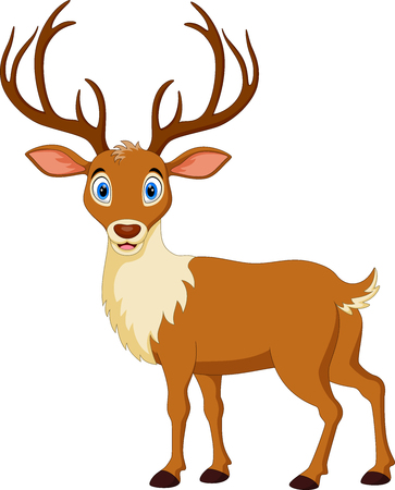 Vector illustration of Cute deer with big horns isolated on white background