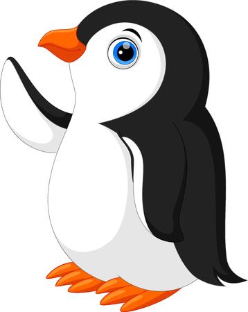 Vektorillustration des netten Pinguinkarikaturwinkens lokalisiert auf weißem Hintergrund