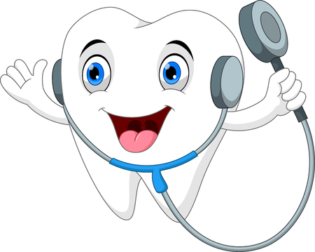Tooth with stethoscope cartoon on white background