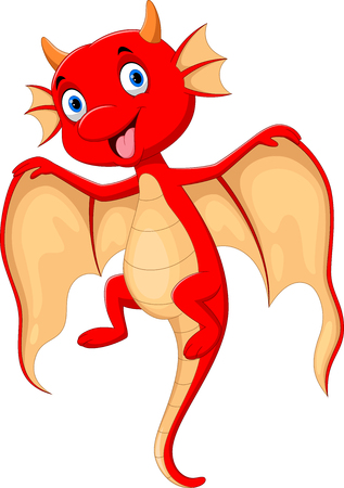 Vector illustration of Cute flying red dragon smiles on white background