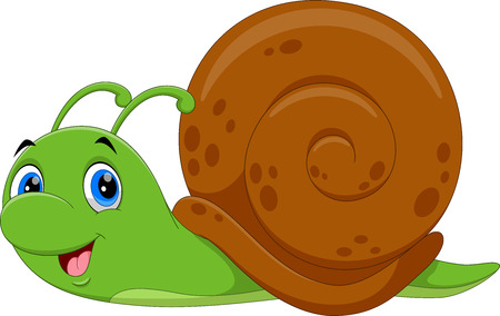 Vector illustration of Cute Snail cartoon running on white background