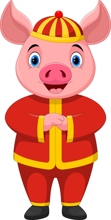 Chinese New Year 2019. Cute pig cartoon with traditional costume isolated on white background Ilustrace
