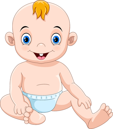 Vector illustration of Cute cartoon baby sitting and smiling isolated on white background