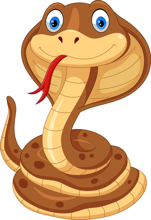Vector illustration of cobra cartoon is cute and adorable isolated on white background