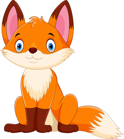 Vector illustration of cute and adorable fox cartoon isolated on white background
