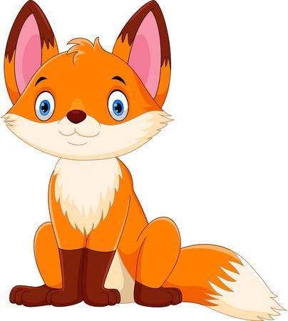 Vectorillustratie van schattige en schattige vos cartoon geïsoleerd op een witte achtergrond
