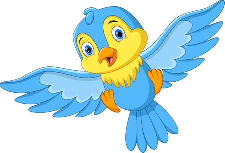 Vector illustration of cute cartoon little bird flying isolated on white background