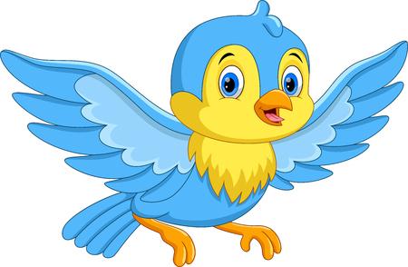 Illustrazione vettoriale di simpatico cartone animato uccellino che vola isolato su sfondo bianco Vettoriali