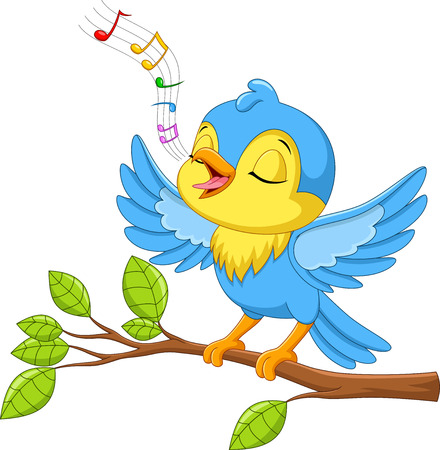 Illustrazione vettoriale di un simpatico uccellino che canta su un ramo di un albero isolato su sfondo bianco