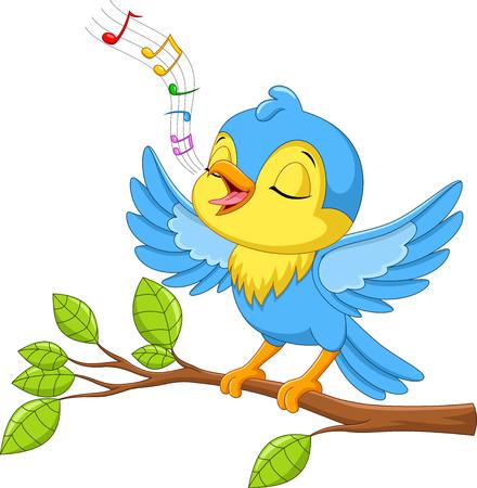 Ilustracja wektorowa ślicznego małego ptaka śpiewa na gałęzi drzewa na białym tle