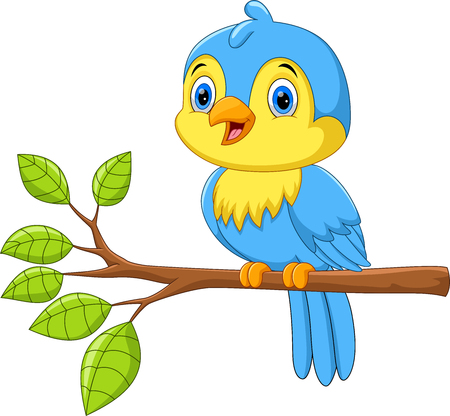 Vector illustration of Cute little bird on a tree branch isolated on white background