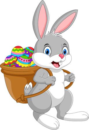 Ilustración de vector de conejito de Pascua de dibujos animados con canasta de huevos aislado sobre fondo blanco Ilustración de vector
