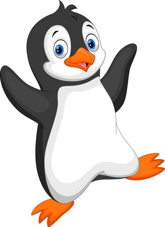 Cute baby penguin cartoon isolated on white background