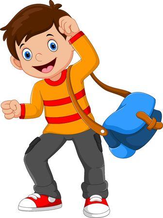 Ilustracja wektorowa szczęśliwego chłopca w szkole na białym tle