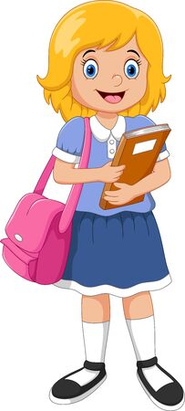 Vector illustration of cartoon happy school girl carrying book isolated on white background