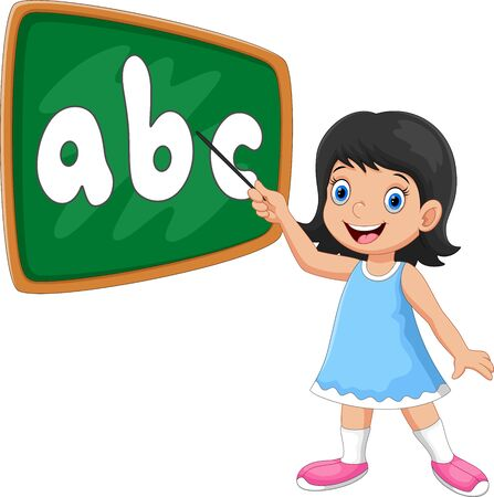 Vector illustration of a girl stands in front of the blackboard with a pointer