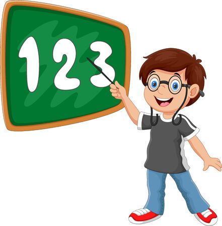 Vector illustration of a boy stands in front of the blackboard with a pointer