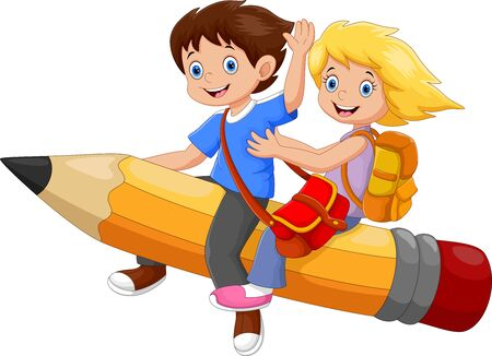 Vector illustration of happy school kids riding a flying pencil isolated on white background Stock Illustratie