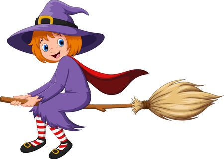 Halloween holiday. Cute little girl witch with flying on a broom Vettoriali