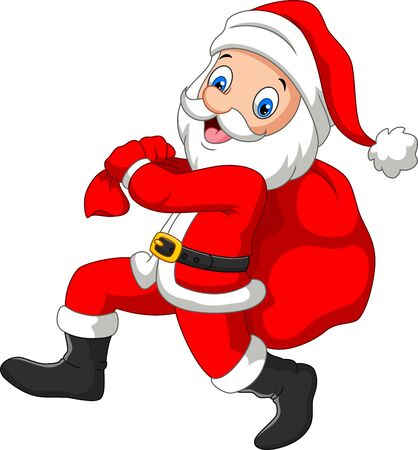 Santa Claus running with sack of gifts