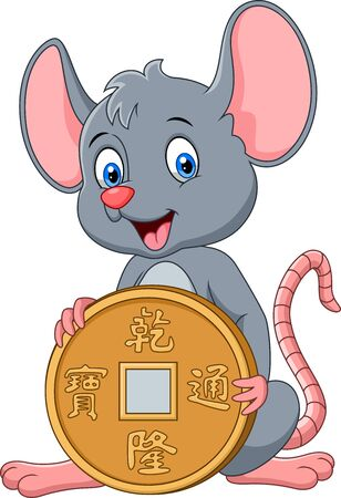 Funny cartoon Rat holding gold coin.