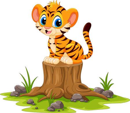 Cartoon happy tiger sitting on tree stump