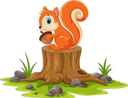 Cartoon happy squirrel sitting on tree stump Иллюстрация