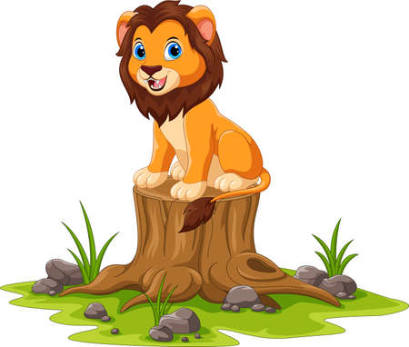 Cartoon happy lion sitting on tree stump