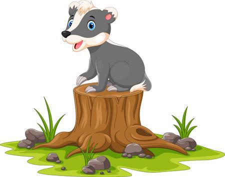Cartoon happy  honey badger sitting on tree stump Иллюстрация