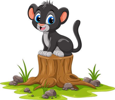 Cartoon happy panther sitting on tree stump