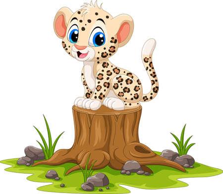 Cartoon happy leopard sitting on tree stump