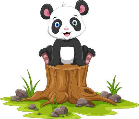 Cartoon happy panda sitting on tree stump