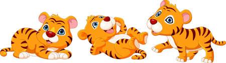 Cute baby tiger cartoon collection set