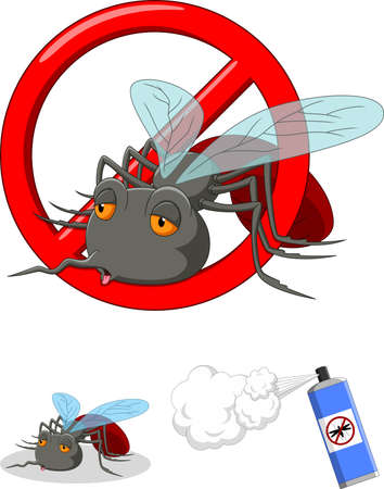 Stop mosquito cartoon Иллюстрация