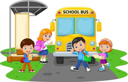 Happy Children And School Bus Иллюстрация