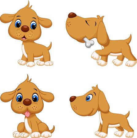 Illustration of cartoon dog collection set