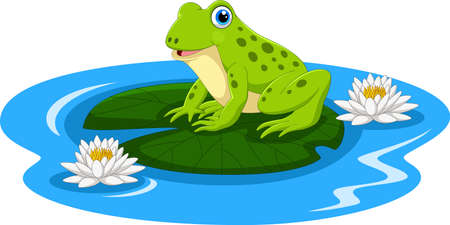 Cute frog on the lily water Иллюстрация